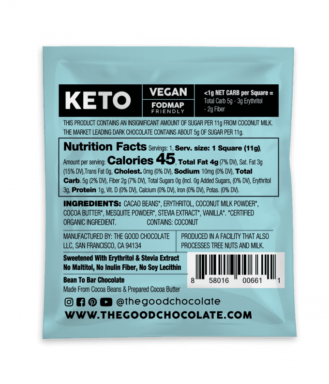 Coconut Milk Cacao 18 Square Family Pack Nutrition Facts