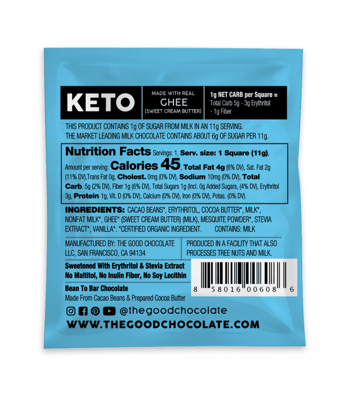 Milk Chocolate 18 Square Family Pack Nutrition Facts