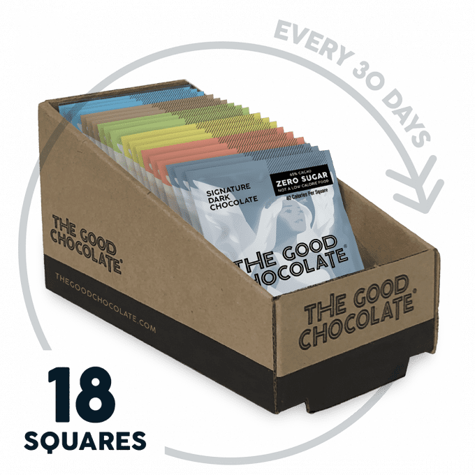 The Good Chocolate Vegan Variety 18 Square Family Pack